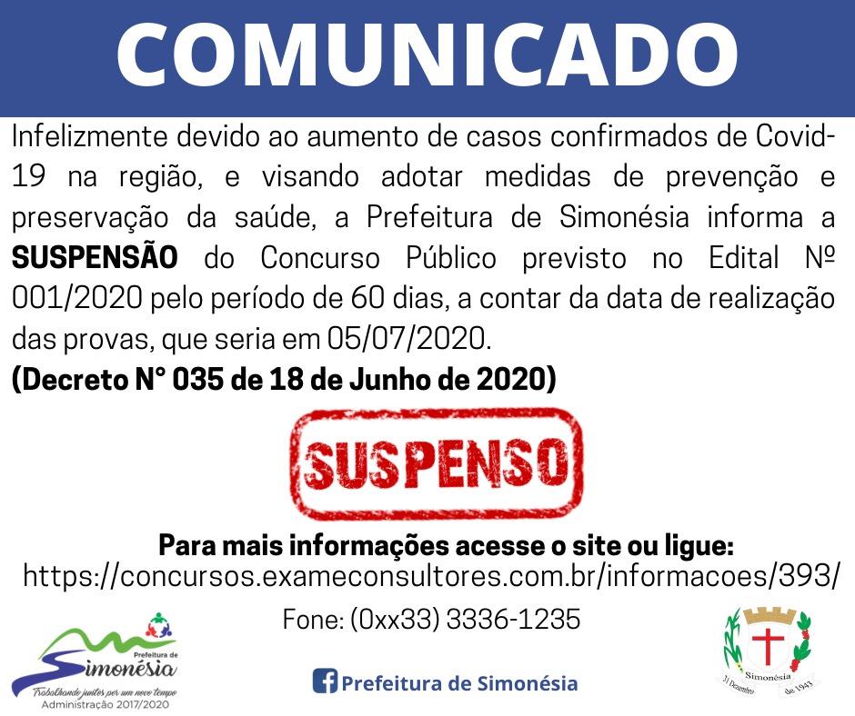 Concurso Público Nº 001/2020 - Suspenso
